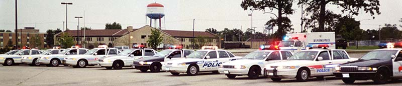 Squad cars from Northern Illinois Police Alarm System member agencies.